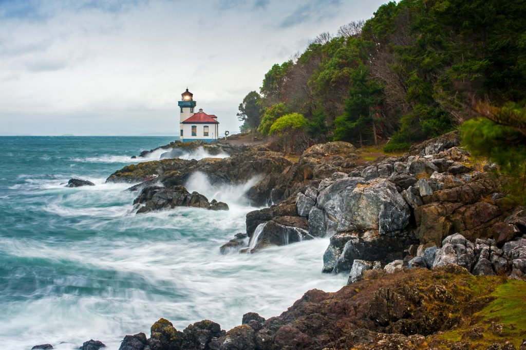 lighthouse in friday harbor washington, one of the best small towns in usa