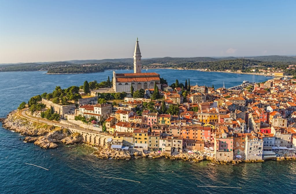 aerial view of rovinj, one of the best places to visit in croatia