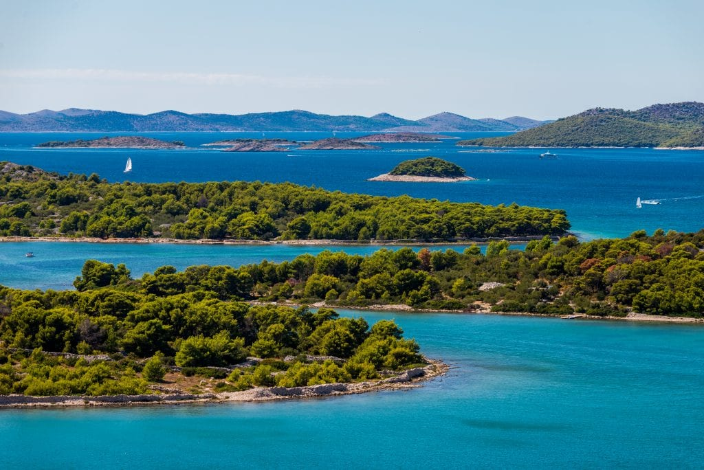 kornati islands, one of the best places to go in croatia, as seen from above with sailboats in the distance