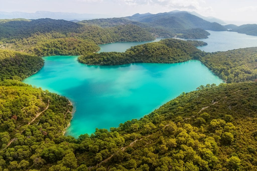 turquoise lakes of mljet national park croatia from above, one of the beautiful places in croatia to visit