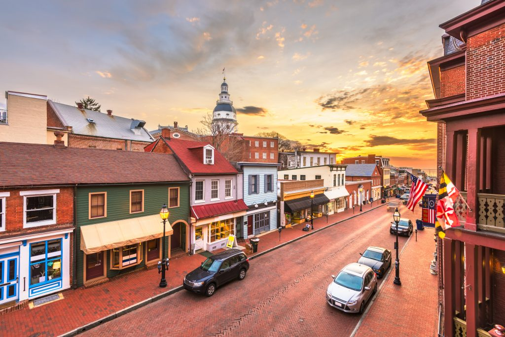 golden sunset over main street in annapolis maryland, one of the most beautiful small towns in america