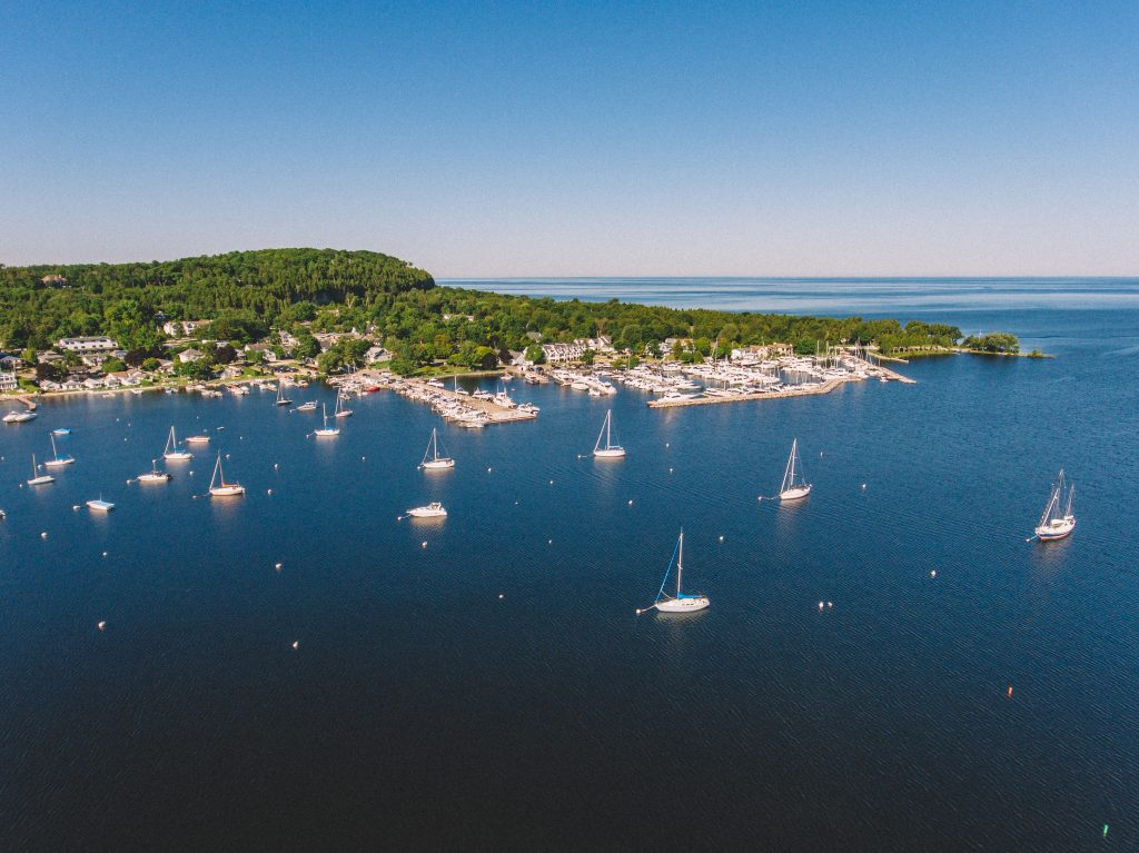 aerial view of sailboats parked near fish creek wisconsin