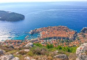 view of dubrovnik from far above on mount srd, one of the best places to visit in croatia