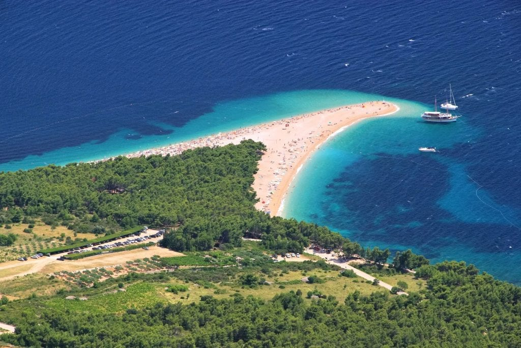 famous Zlatni Rat beach in brac croatia as seen from above via a drone
