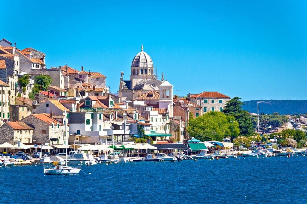 town of sibenik as seen from across the water, one of the most beautiful places in croatia