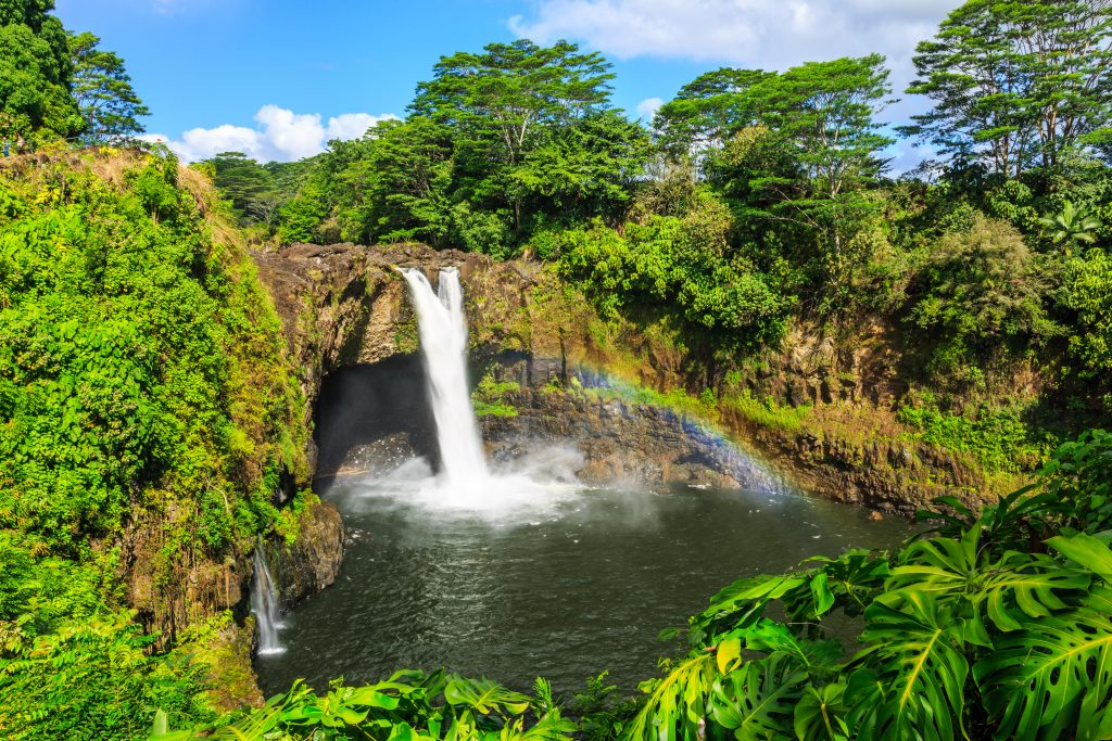 waterfall in hilo hawaii, one of the cutest small towns in america
