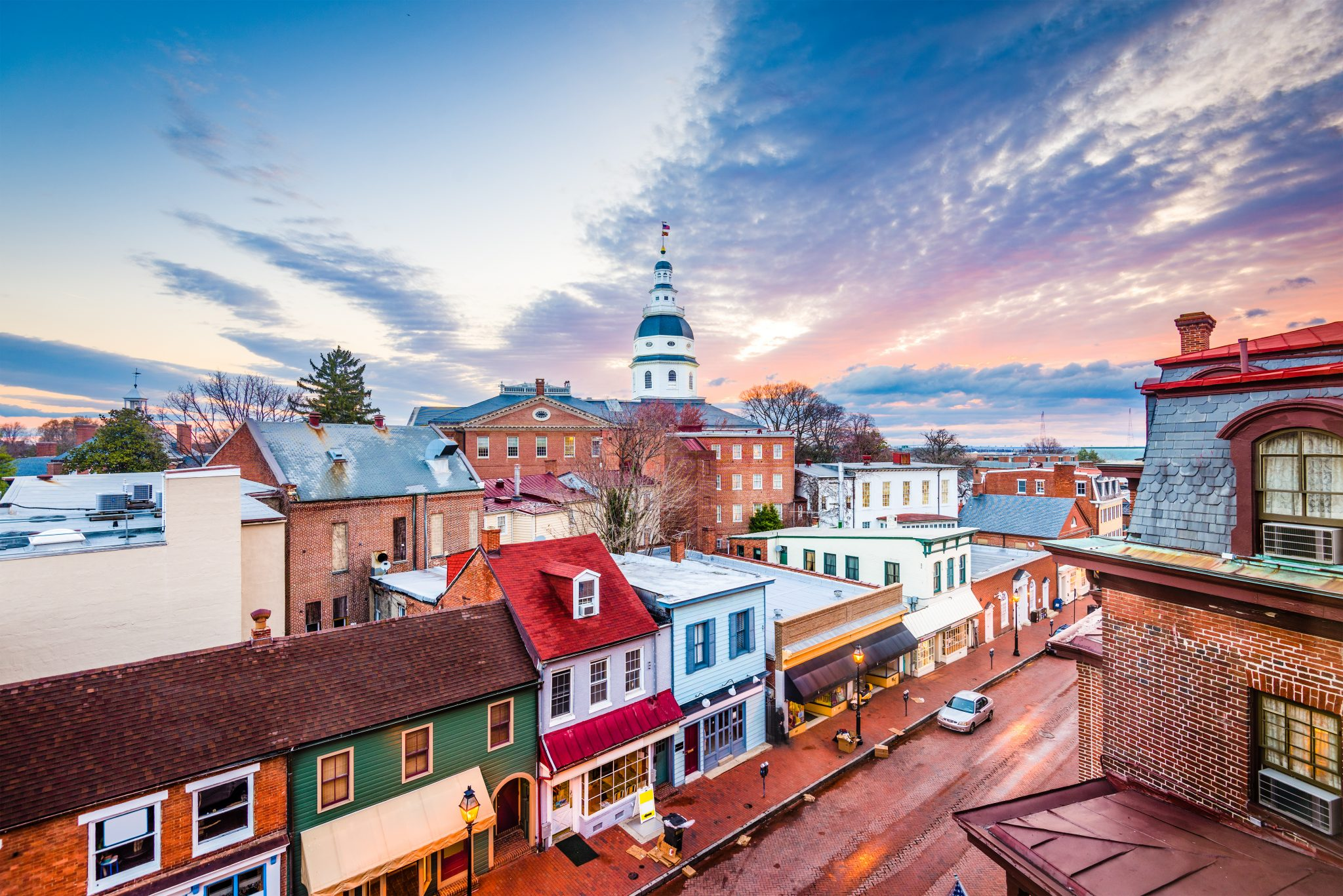 sunset over annapolis maryland rooftops, one of the best small towns in usa