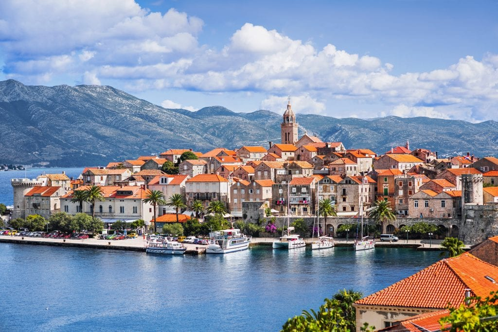 korcula town as seen from across the water