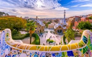 view of park guell in barcelona spain, a top europe bucket list travel destination