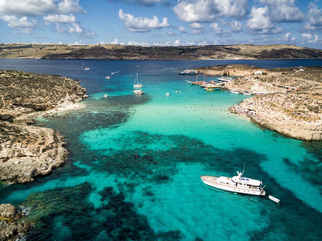 aerial view of blue lagoon malta