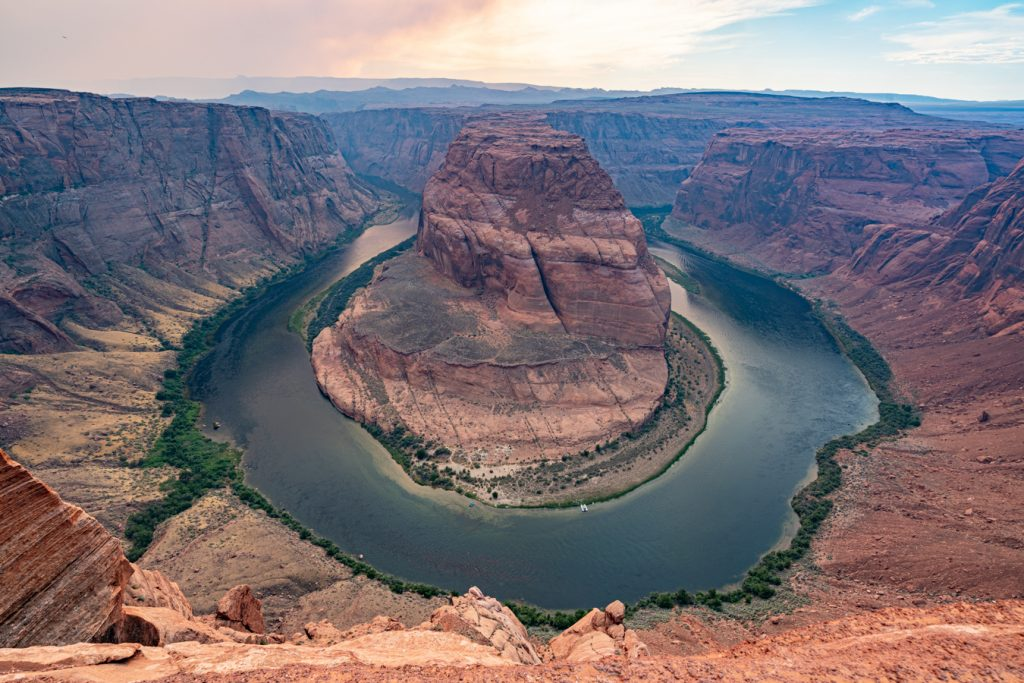 horseshoe bend, one of the best things to do in page az, as seen near sunset