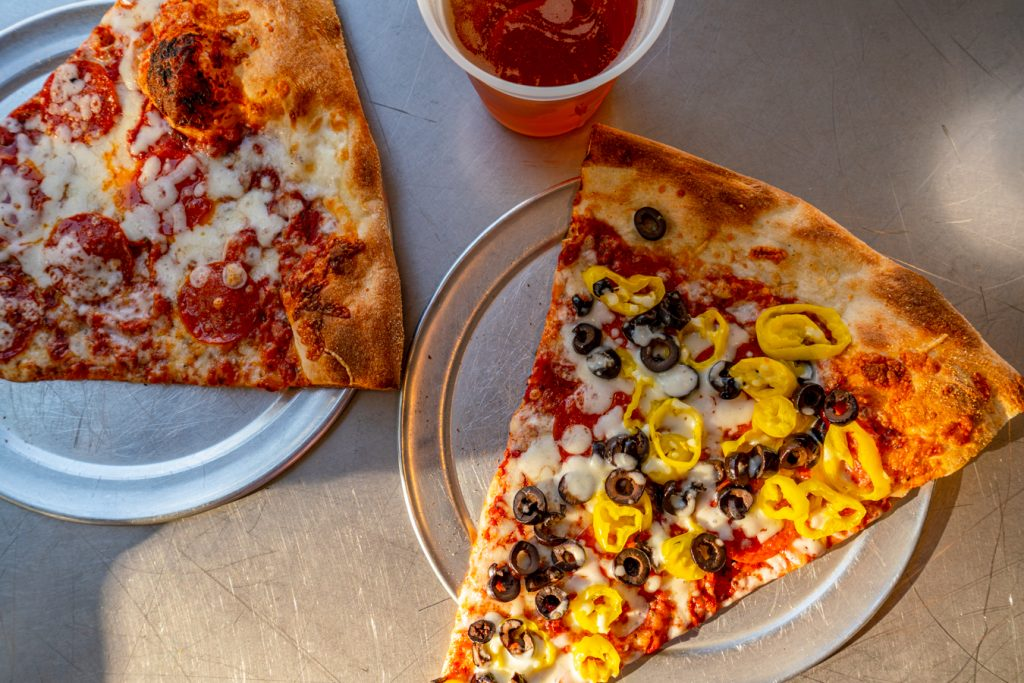 pizza slices at vinnie van gogos, one of the best cheap eats in savannah ga, as seen from above