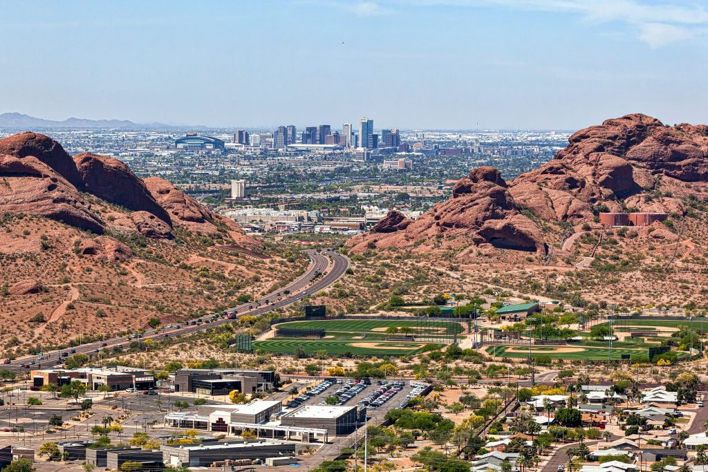 aerial view of phoenix skyline, one of the best places to visit in arizona
