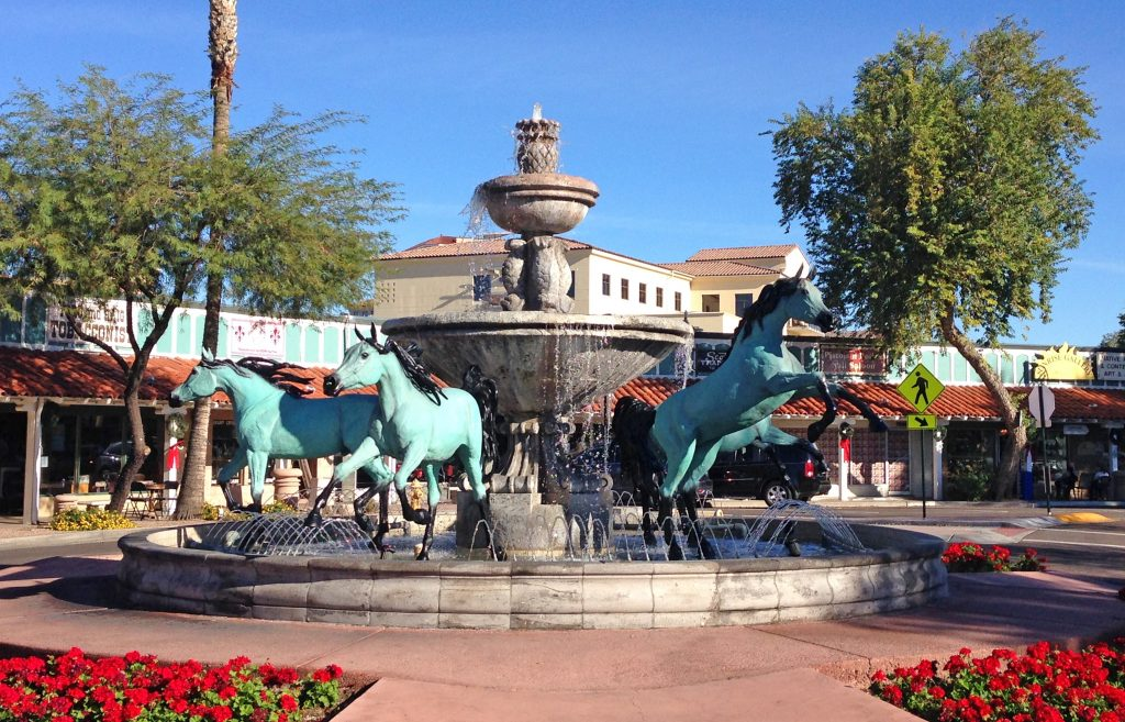 fountain with bronze horses in old town scottsdale, an arizona bucket list destination