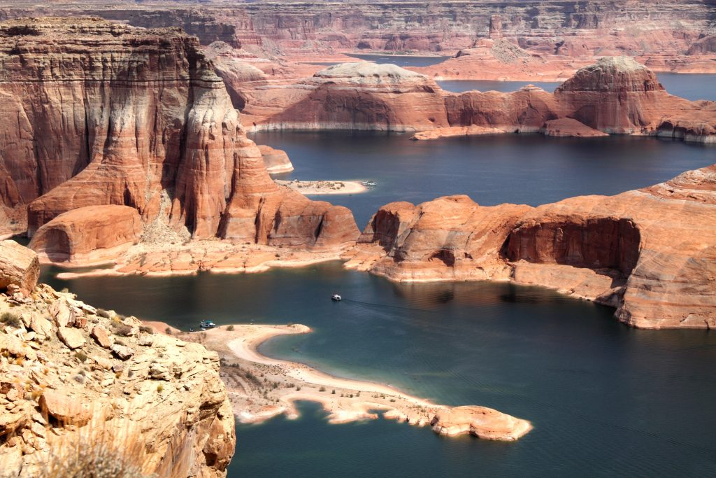 lake powell as seen from above, one of the best places to visit in arizona