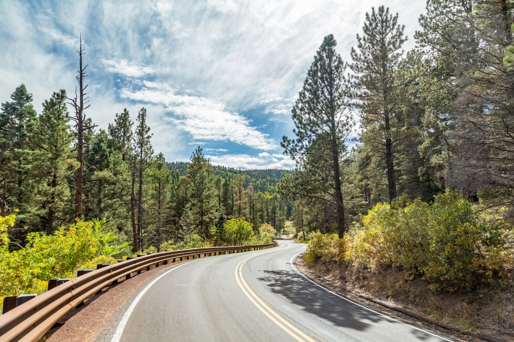 curving road through the trees in the enchanted circle in new mexico, one of the most beautiful road trips in southwest usa