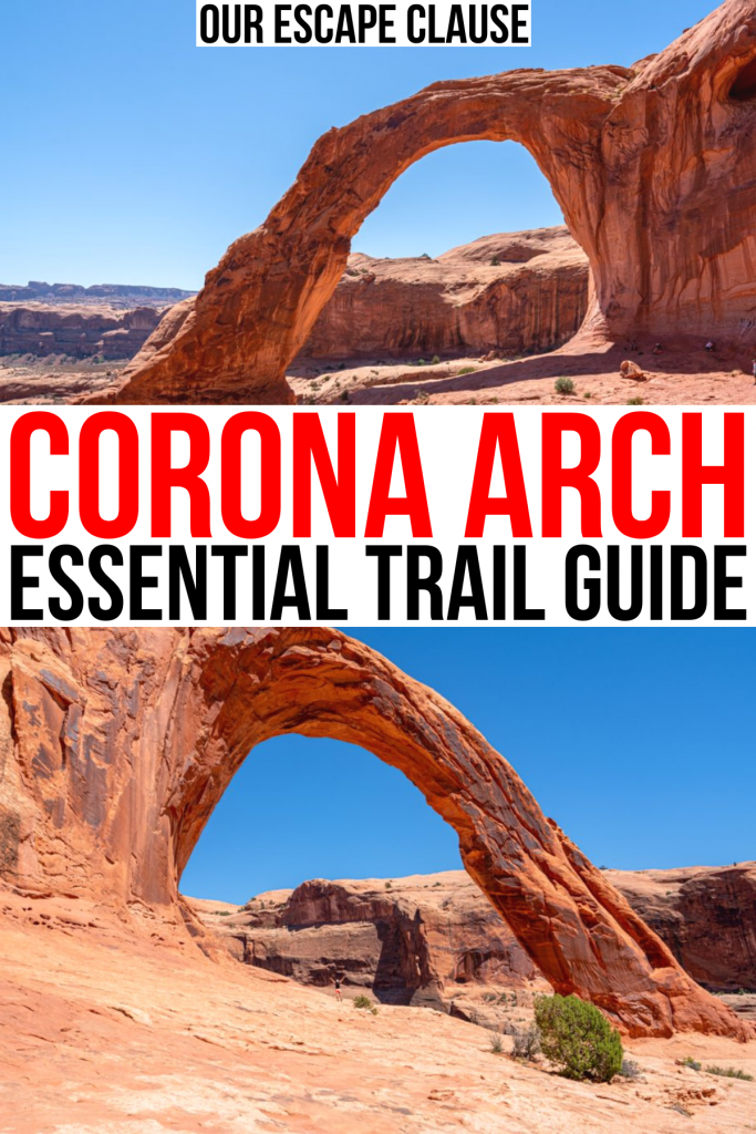 """2 photos of corona arch from opposite sides, red and black text on a white background reads """"corona arch essential trail guide"""""""