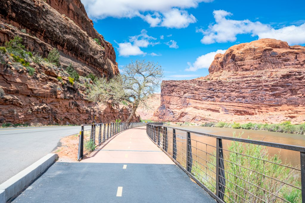 view of walking trail along colorado river at lions park