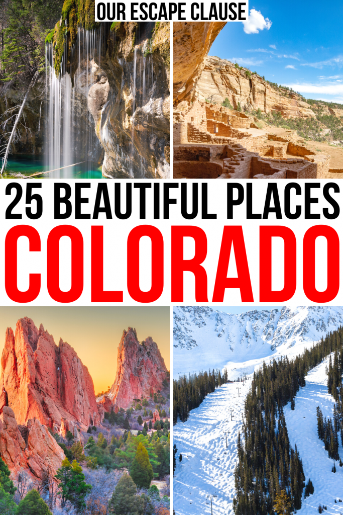 """4 photos of natural beauty in colorado, black and red text on a white background reads """"25 beautiful places colorado"""""""