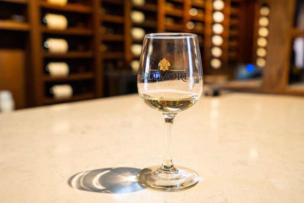 biltmore branded glass at a wine tasting