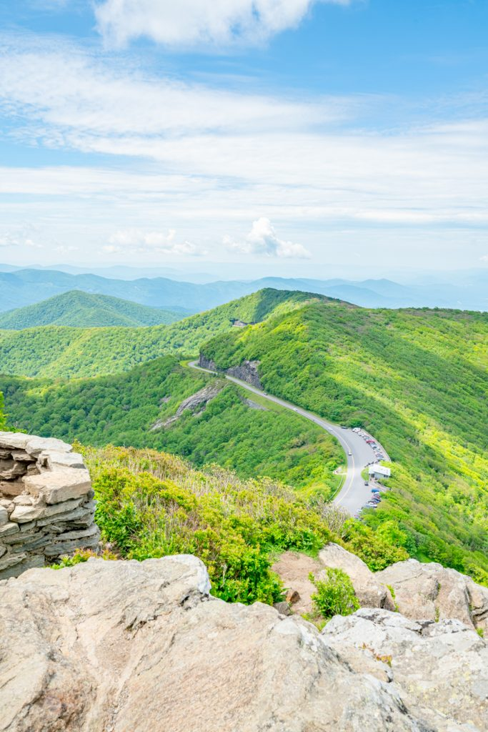 view of blue ridge parkway nc from craggy pinnacle, one of the best asheville attractions