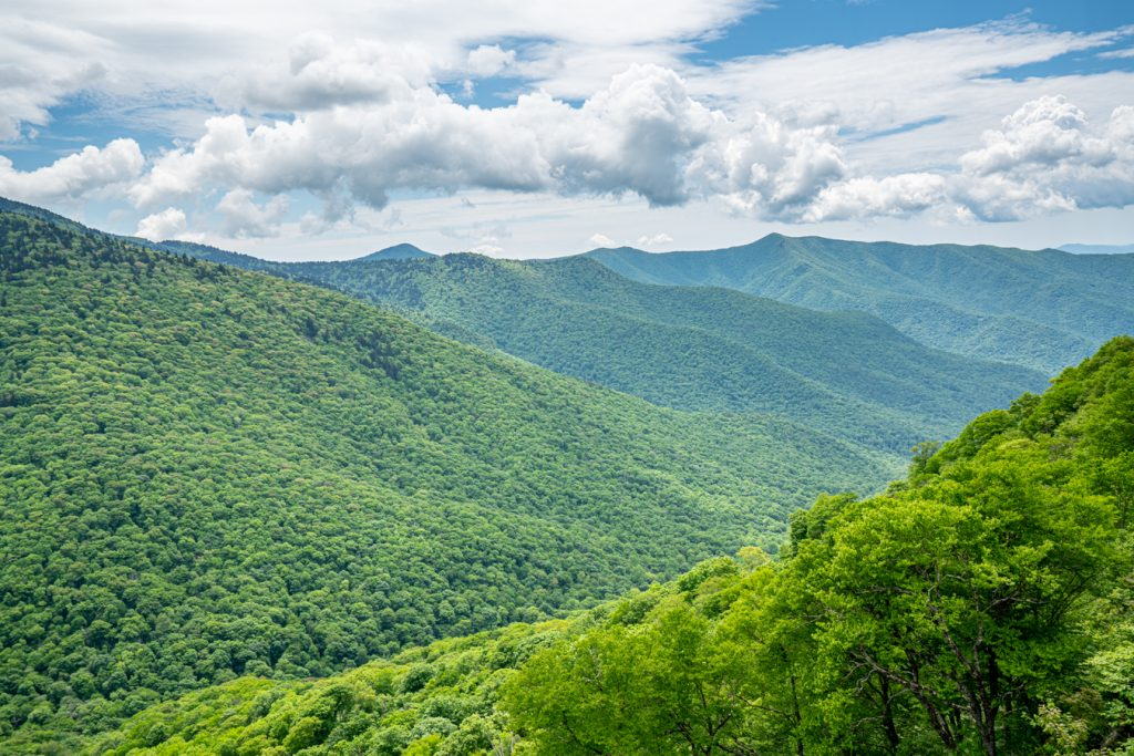 view of the blue ridge mountains from blue ridge parkway, one of the best things to do on a 3 day asheville weekend itinerary