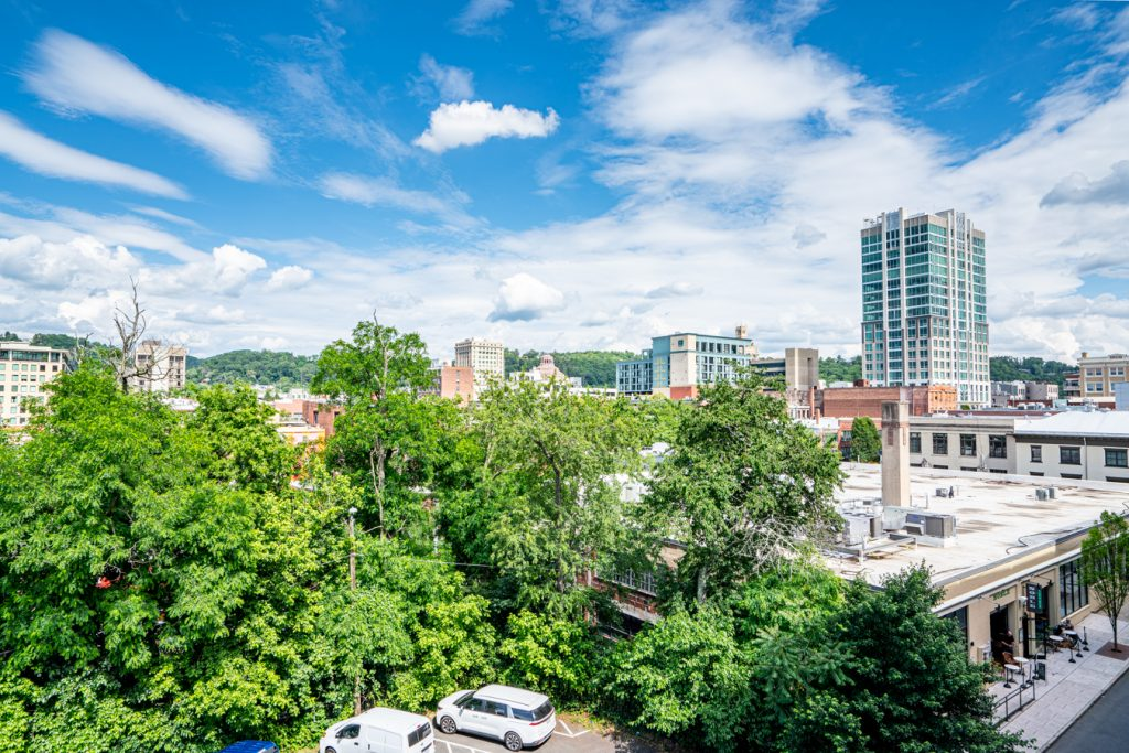 downtown asheville as seen from above