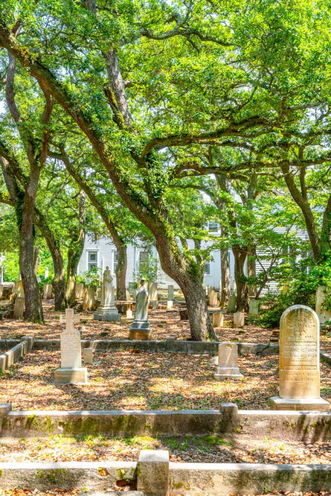 gravestones under trees in old bury ground beaufort north carolina