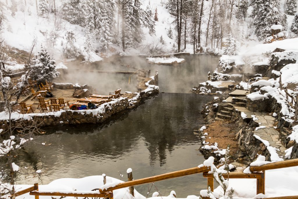 strawberry hot springs in steamboat springs colorado in the snow, one of the best places to visit in colorado