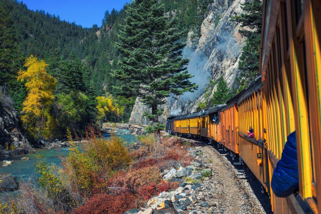 scenic yellow train ride from durango to silverton colorado