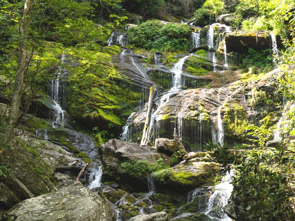 close up view of catawba falls asheville north carolina