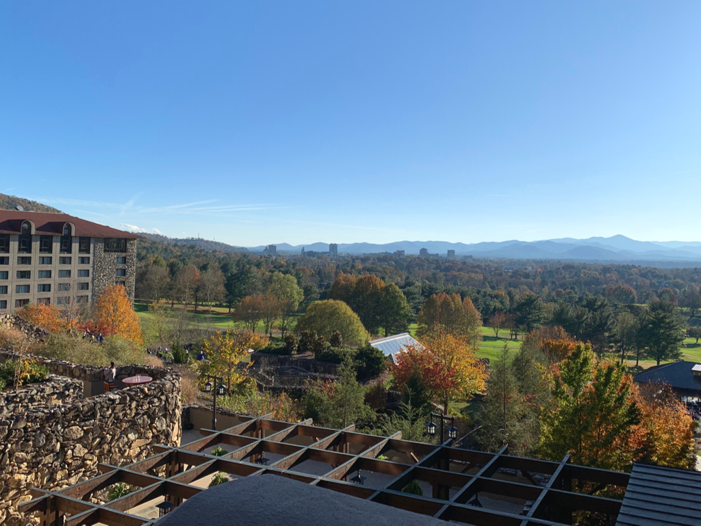 view from omni grove park inn in asheville nc in the fall