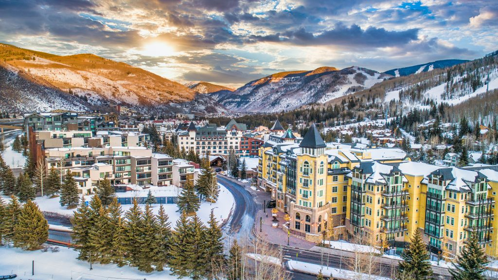 vail colorado as seen from above at sunset in winter in colorado