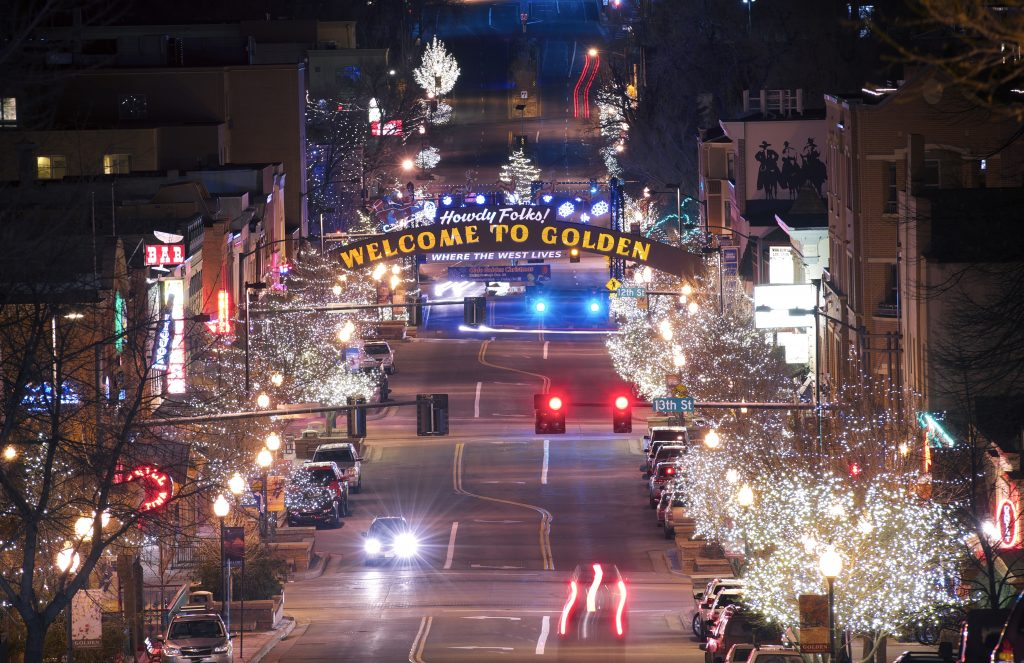 downtown golden colorado decorated for chirstmas at night