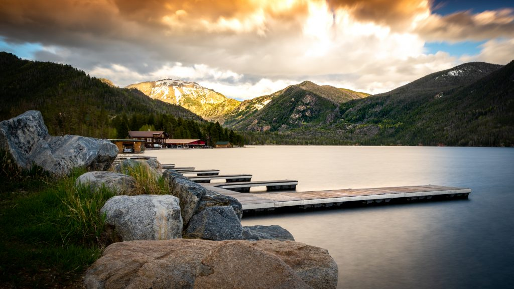 sunset near the docks in grand lake colorado vacation spots