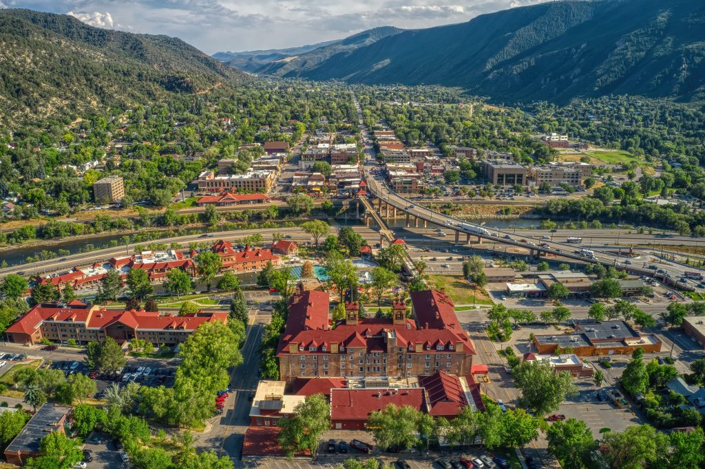 aerial view of glenwood springs co, one of the best colorado vacation destinations