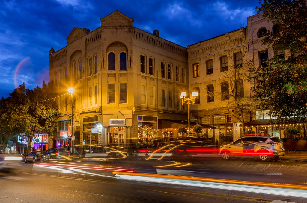 downtown asheville north carolina long exposure during blue hour