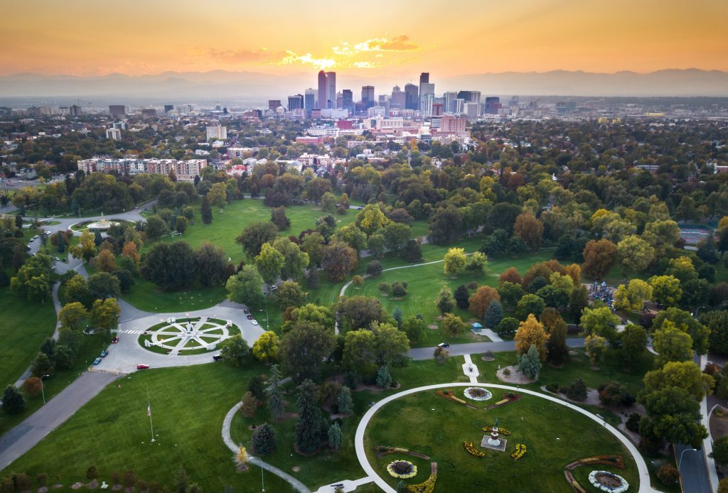 aerial view of denver from above, one of the best colorado places to visit