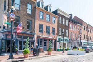 historic brick buildings in baltimore fells point neighborhood, one of the best places to visit during a weekend in baltimore itinerary