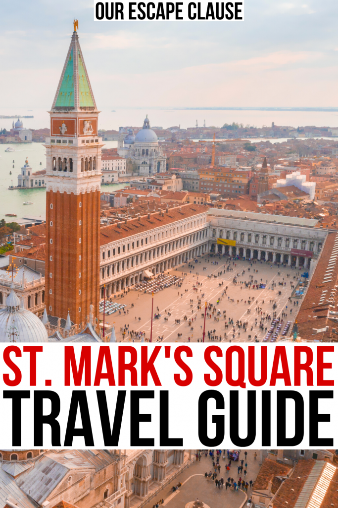 """aerial view of venice san marco piazza, red and black text on a white background reads """"st marks square travel guide"""""""