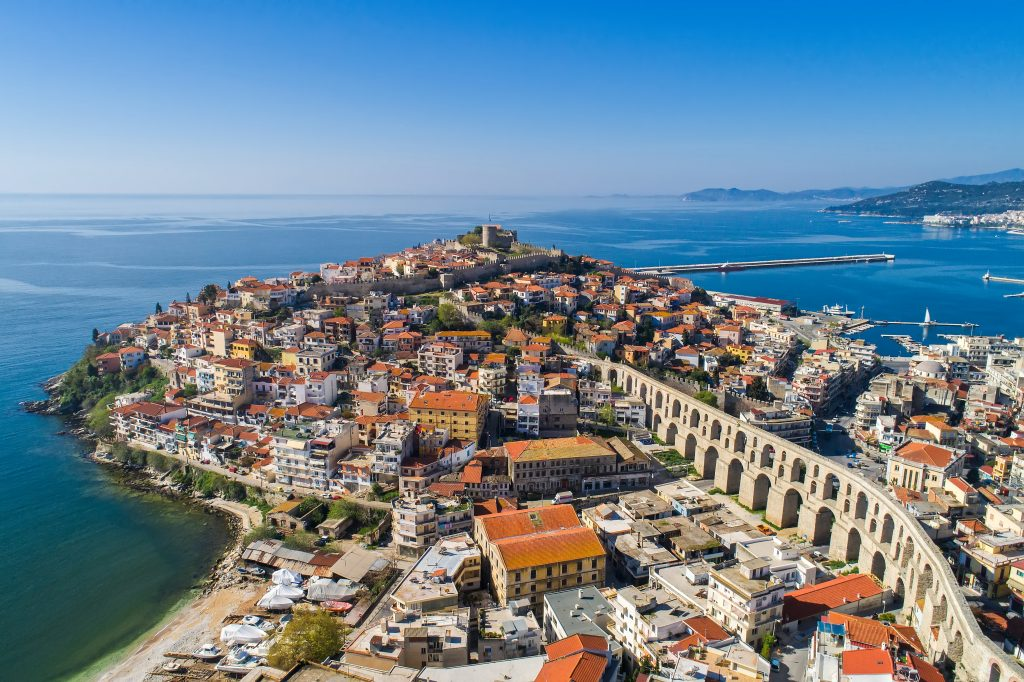 aerial view of kavala greece with aqueduct in the foreground, a wonderful stop on a greece in 7 days itinerary