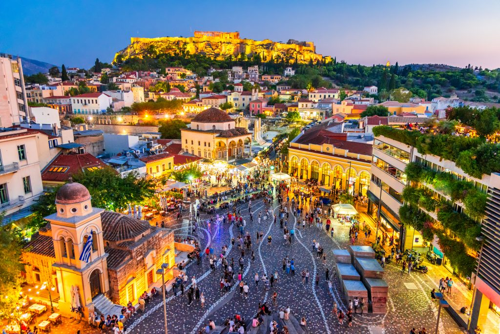square in athens from above at night, as seen when visiting greece