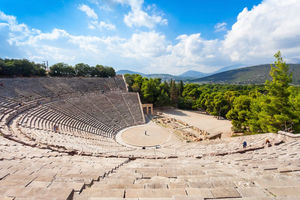 ancient theater of Epidaurus as seen from the rear, an amazing stop on a 7 days in greece road trip itinerary