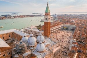 aerial view of st marks square in venice with st marks basilica in the foreground
