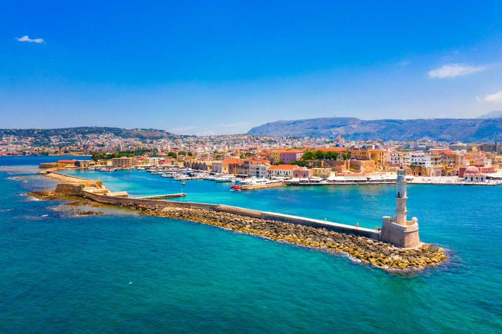 view of chania greece from above with lighthouse in the foreground