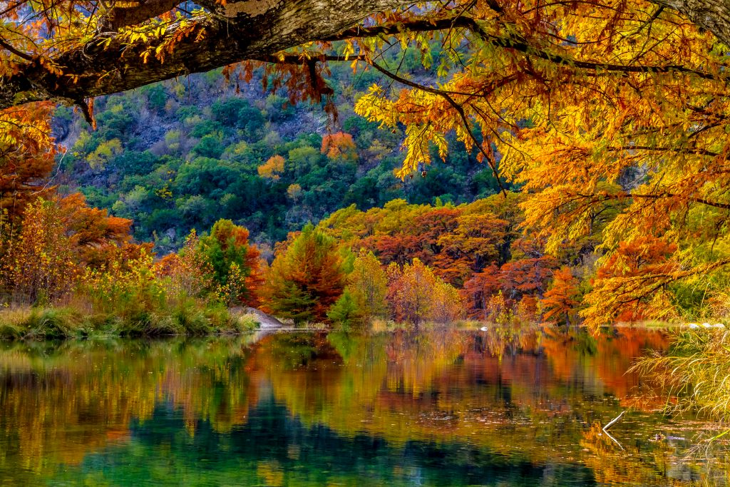 fall foliage in garner state park texas, one of best warm places to visit in usa november