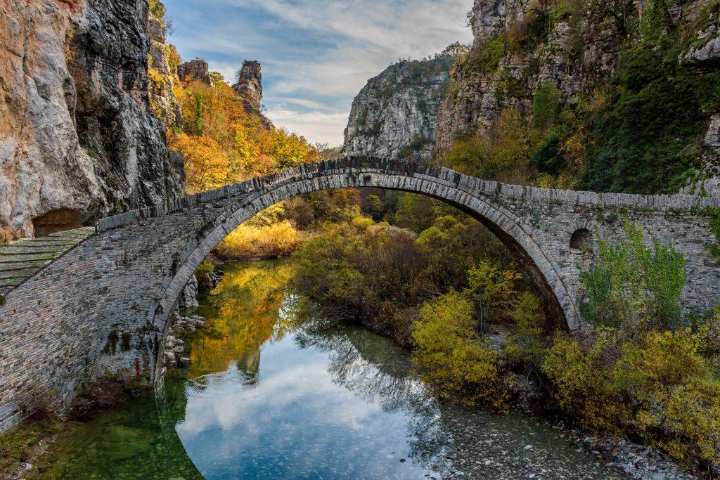 historic stone bridge in Ioannina greece in the fall