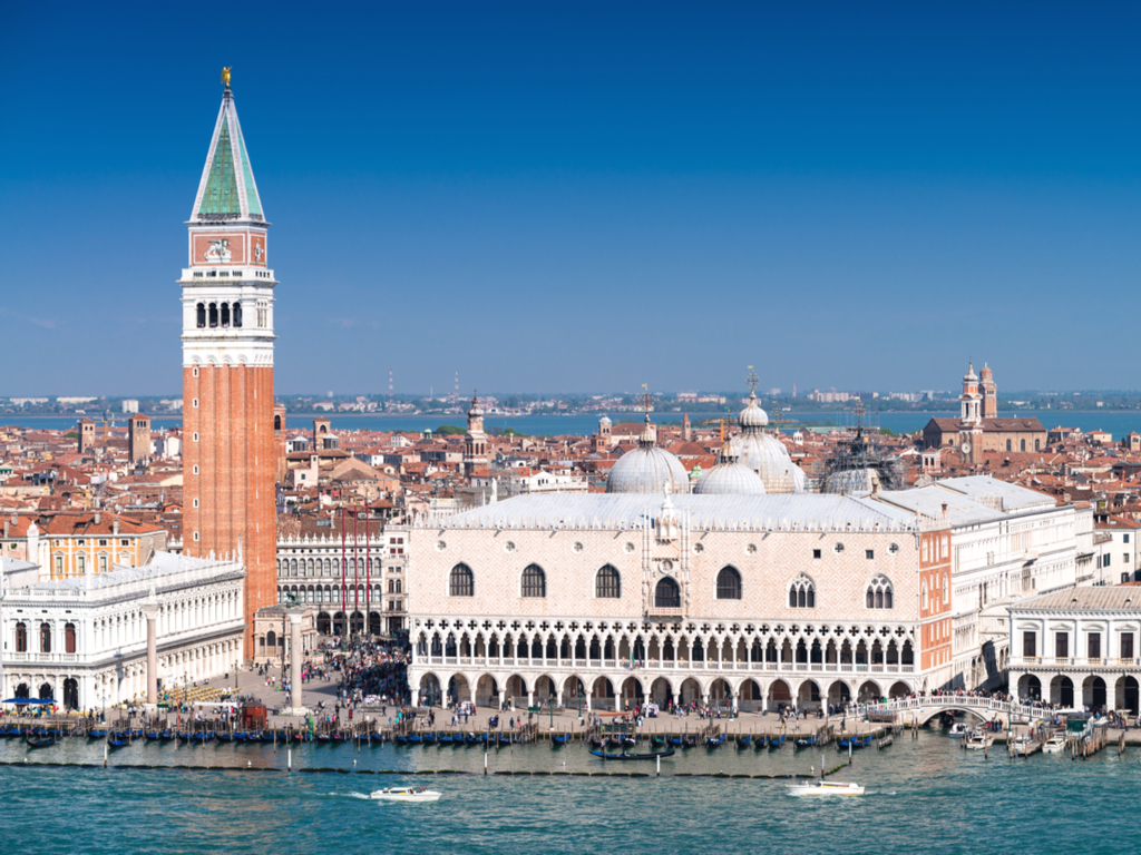 aerial view of piazza san marco venice as seen from outlying island