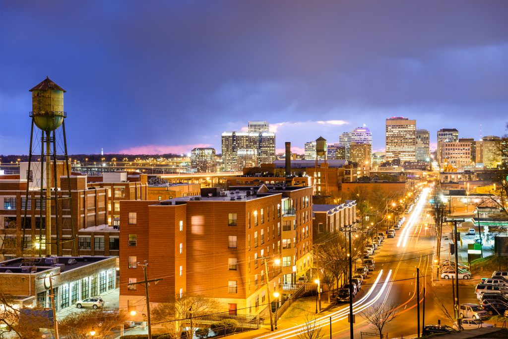 cityscape of richmond va at night, one of the best places to travel in the us in november