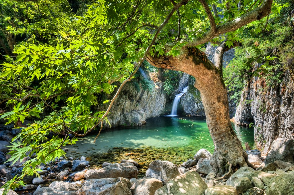 small waterfall in samothraki greece with a leafy tree in the foreground, a hidden gem when spending a week in greece
